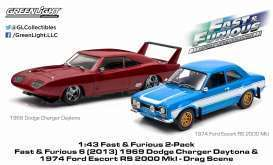 Fast & Furios Set 69 Dodge Daytona Carger & 74 Ford Escort RS 2000 im Display Case