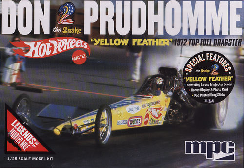 Don The Snake Prudhomme's 1972 Hot Wheels Yellow Feather Top Fuel Dragster