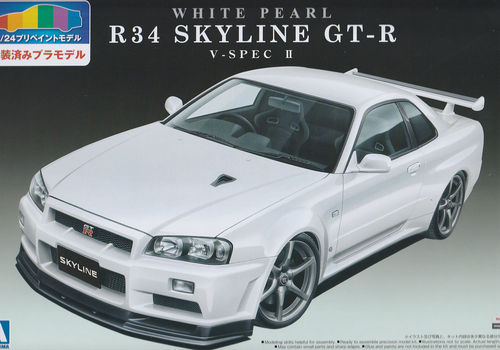 Nissan Skyline GT-R 34 V-SPEC II Pre Painted Model Kit Perlweiß